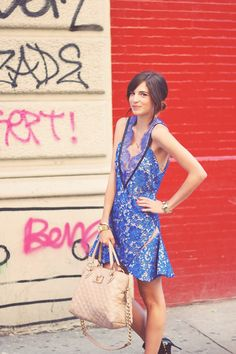 Emilee Anne wearing Three Floor lace dress, Valentino studded booties and Marc Jacobs quilted purse