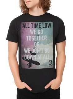 """""""We Go Together Or We Don't Go Down At All."""" Sing along in this black T-shirt from your favorite band, All Time Low. Lyrics design inspired by the track """"A Love Like War."""""""