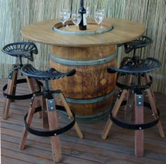 FOUNDRY STOOLS AND WINE BARREL TABLE / BBQ / DINING SETTING / TIMBER