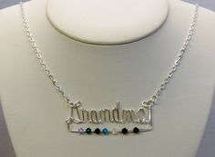 Grandmother wire written name necklace with birthstones