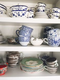 Atlantis Home Interiors, Follow @atlantishome on Instagram, or check out the blog at www.atlantishome.com. . . #cups #ceramics #mugs #shelfie #atlantishome #anthropologie #interiors #kitchen
