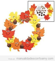 11 All craft kit pieces are pre-pac… Foam Smile Face Leaves Wreath Craft Kit. 11 All craft kit pieces are pre-packaged for individual use. Kits include instructions and extra pieces. Thanksgiving Crafts For Kids, Holiday Crafts, Autumn Crafts For Kids, Thanksgiving Decorations, Kindergarten Thanksgiving Crafts, Fall Crafts For Toddlers, Thanksgiving Turkey, Autumn Activities, Craft Activities