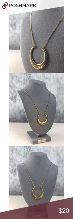 LF STORES GOLD HORSE SHOE STYLE PENDANT NECKLACE!! LF STORES GOLD HORSE SHOE STYLE PENDANT NECKLACE!! Such a great piece to layer or by itself! Half circle shape is covered with tribal designs. Lobster claw clasp. Measures 26'. Length adjustable up to +/- 3'. LF Jewelry Necklaces