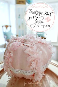 Shabby Pink Painted Pumpkin - @Stacey Dollar Tree pumpkin makeover - #pumpkin #craft #idea