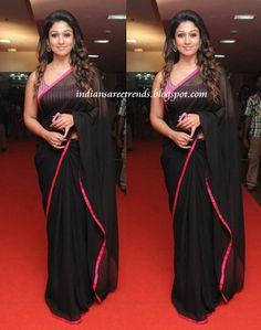 Latest Traditional and Designer Sarees: Nayantara in Plain Black Chiffon Saree