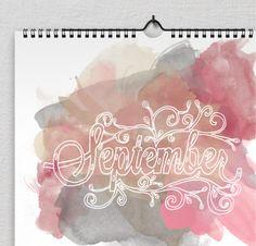 Hand Done Type Calendar by Samantha Keck, via Behance