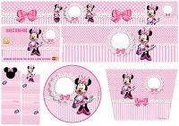 Minnie con Rayas Rosa: Etiquetas para Candy Bar para Imprimir Gratis.