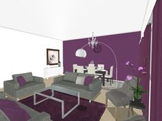 Look at all the purple! What do YOU like best about this 3D floor plan for a living room and dining room area?    Visualize your favorite room with purple decor:  http://planner.roomsketcher.com/?ctxt=rs_com    image credit: Ahlam Zalghout