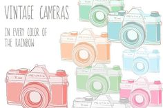 Vintage Cameras- Images, PSD, Vector by Angie Makes on @creativemarket