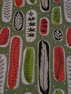 1950s Atomic fabric with beautiful leaf pattern. 25 bids!