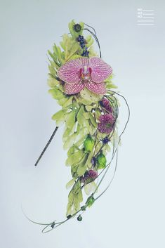 Whimsical bridal bouquet with lavender and phalaenopsis orchid, on samara seed structure.