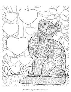 Free printable Valentine's Day Coloring Pages eBook for use in your classroom or home from PrimaryGames. Print and color this Zentangle Cat with Hearts coloring page.