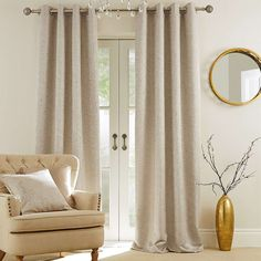 Richmond Champagne Lined Eyelet Curtains | Dunelm