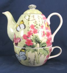 "Tea for One Set Cup and Teapot Porcelian ""Butterfly Garden"" ~~PRETTY:)"