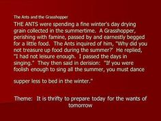 The Ants and the Grasshopper THE ANTS were spending a fine winter's day drying grain collected in the summertime. A Grasshopper, perishing with famine,> Romulus And Remus, I Passed, Retelling, I School, Being A Landlord, Real People, Ants, Short Stories, Summer Time