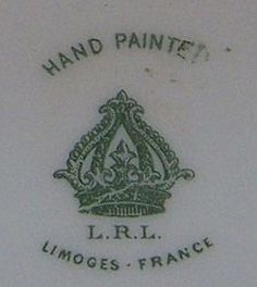Pottery and Porcelain Marks: L.R.L. Limoges France