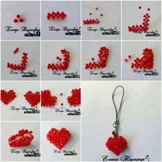 "Zawieszka ""How to make beads or pearl Heart Ornament step by step DIY tutorial instructions thumb"", ""DIY Heart Shaped String Wreath with Balloons"", """