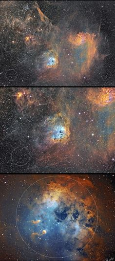 IC 410 in Auriga, the scale in a sky This zoom in series of photographs of the emission nebula IC 410 was taken by Finnish astrophotographer J-P Metsavainio from his observatory at the city center of Oulu. The images show the actual size of IC 410 in the sky. The white circle in the images show the angular size of the full Moon in the sky. The Moon has an apparent diameter of ~30 arc minutes or 0.5 degrees.