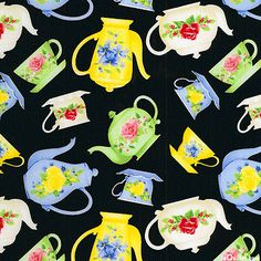 Tea for Two - Tea Pots & Flowers - Quilt fabrics from www.eQuilter.com