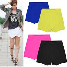 Hot Fashion Womens 6 Color Irregular Low Waist Shorts Culottes Pants New Shorts Skirt Freeshipping(China (Mainland))
