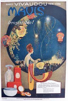 1920 Vivadou Mavis Beauty Products Ad ~ Stunning Fred Packer Art