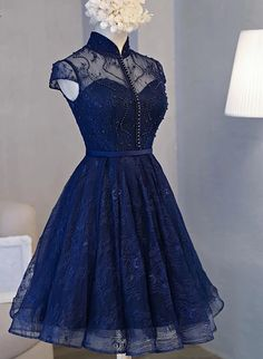 Beautiful Navy Blue Knee Length Lace Party Dress, Homecoming Dress – BeautyDressy