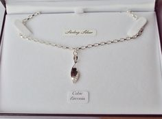 STERLING SILVER & CUBIC ZIRCONIA PENDANT CHAIN NECKLACE