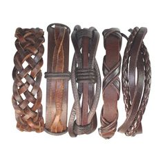 5 Piece Handmade Leather Bracelet Set Mens Womens Braided Wrap Braclet Valentines's Day Gift BST-181