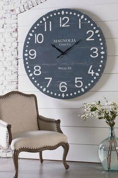 I am in love with this Magnolia Home clock! This would look gorgeous over a fireplace. Joanna Gaines does it again! She has the best farmhouse style. #farmhousestyle #fixerupper #joannagaines #clocks #affiliate