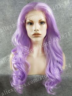 Free Shipping Fashion Body Wave Bright Purple Color Synthetic Lace Front Wig for Women-in Synthetic Wigs from Beauty & Health on Aliexpress....