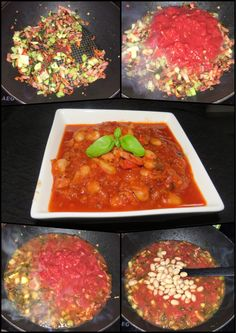Hearty tomato stew with bacon and white beans
