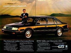 1985 Chrysler LeBaron GTS. Mine was dark blue. Digital dash and turbo (yes, the louvers in the hood are functional) with room for a car seat!.