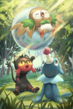 Litten, Popplio play with Rowlet