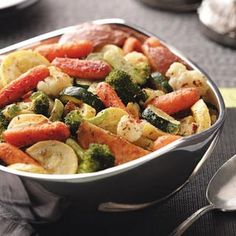Roasted Harvest Vegetables Recipe Roasted veggies and ONIONS  carmelize  and OH so good TRY it