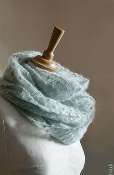 Knitted lace cowl, silk and mohair lace cowl, knitted snood, mohair lace wrap in light blue 'Snowflakes'