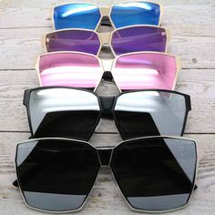 Oversized Square Sunglasses Metal & Plastic Frame Mirrored Lens Women Fashion