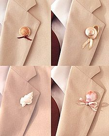 Shell Boutonnieres - Great idea for a beach wedding!