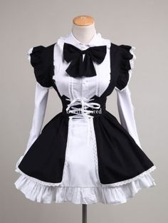 Black and White Sweet Bow Maid Lolita Dress
