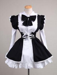Black and White Sweet Bow Maid Lolita Dress