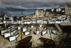 Bernard BUFFET ( 1928 - 1999 ) - Peintre Francais - French Painter Treboul, marée basse
