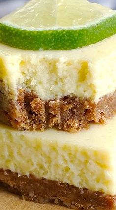 Key Lime Pie Bars - Creamy, smooth, and so flavorful. Double key lime filling when using pan Smores Dessert, Dessert Bars, Lime Recipes, Sweet Recipes, Bar Recipes, Apple Pie Recipes, Recipies, Key Lime Pie Bars, Key Lime Cheesecake Bars