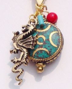 Moon Dragon, Dragon necklace, Nepalese bead, turquoise necklace, coral