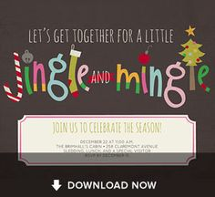Jingle & Mingle Christmas Invitation free to customize and print for your Cookie Exchange Party or Ugly Sweater Party or Merry Christmas friends party....