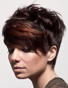 brown bangs, black messy hair