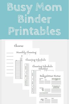 Busy mom, home organization, family binder printable, cleaning schedule, chores, babysitter notes