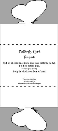 ✄ printable #templates.......Butterfly Card Mirkwood Designs
