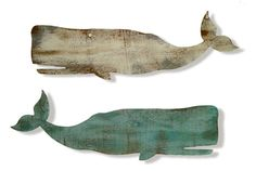 Whale Silhouettes are made from recycled wooden panels (by Cottage Coastal).