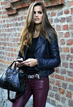 Leather jacket pants