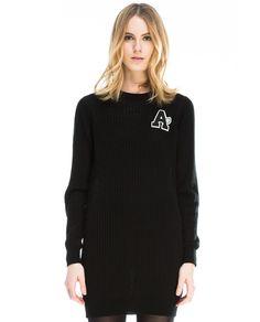 Vestido negro de canalé mujer KLING