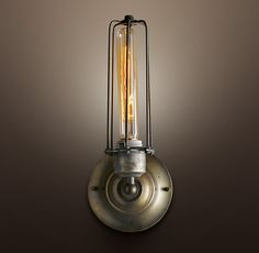Edison Caged Sconce Gunmetal...for family room flanking sofa, using factory cart as table